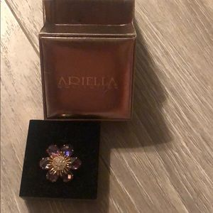 "Arielle Purple/""Diamonds""/Gold Flower Ring"